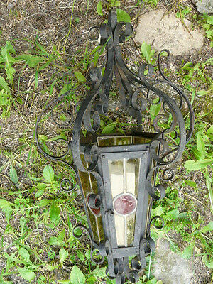 Antique French Wrought Iron Chandelier Lantern yelow & Red Colored Stained Glass