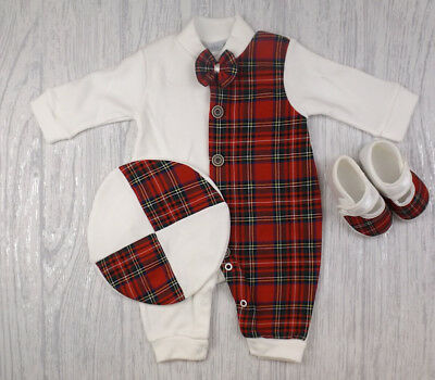 Baby Boys Girls Spanish Style Romany Half Tartan Romper Beret Shoes Outfit AW18