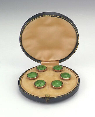 Antique Set Of Green Hardstone & Rose Gold Collar Buttons Or Studs - Boxed!