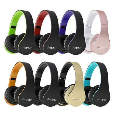 Andoer HiFi Stereo Earphone Wireless Bluetooth Foldable Headset MIC FM/MP3/TF SD
