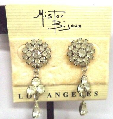 *rare* Vintage Rhinestone Flower 1 3/8 Earrings Mistar Bijoux La Card!!! G181W