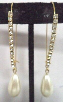 "Stunning Vintage Estate High End Rhinestone 2 5/8"" Pierced Earrings!!! G181Z"
