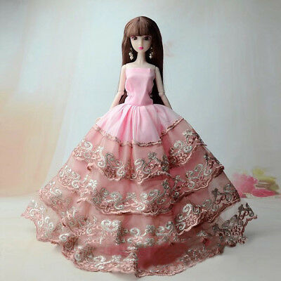 Lovely 5pcs Handmade Clothes Wedding Dress For Barbie Doll Dress Gift Accessory