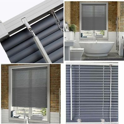 PVC Contrast Slate Grey Venetian Window Blinds Blind For Home Office All Sizes