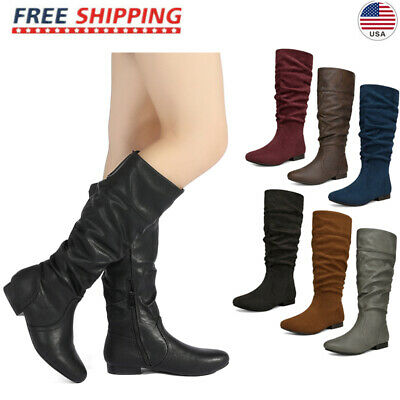8b09dabf66d DREAM PAIRS Women s BLVD-W Flat Pull On Fall Weather Knee High Boots Wide  Calf