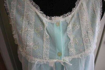vintage baby doll nightie night dress lace frills Aqua sheer overlay ST MARK s16