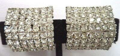 "Stunning Vintage Estate High End Rhinestone Curved 7/8"" Clip Earrings!!! G182V"