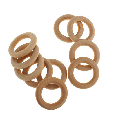 10pcs Natural Wooden Teether Teething Ring Baby Toys DIY Unstained Craft