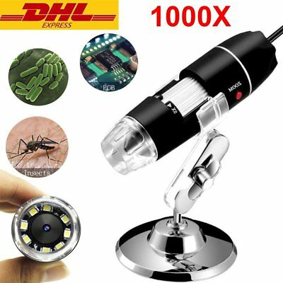 1000X USB Digital Zoom Mikroskop 2MP Lupe Fach Endoskop 8 LED 2 IN 1 PC+Android