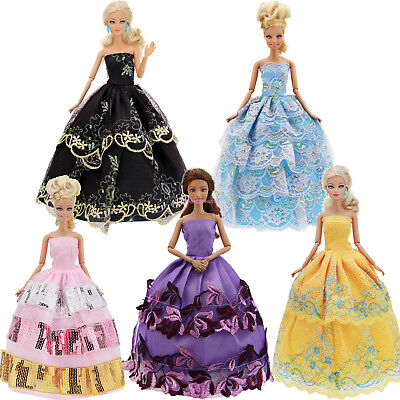 5 Certain Dress Party Evening Ball Gown Pink Purple Clothes For Barbie Doll FA