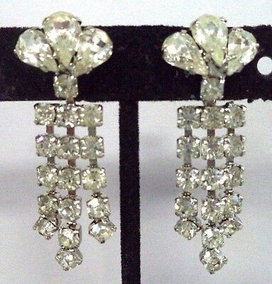 "Stunning Vintage Estate High End Rhinestone Dangle 1 3/4"" Screw Earrings! G183R"