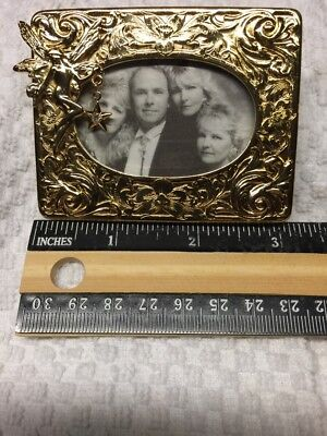 "Kirks Folly Picture Frame Gold Tone Fairy Star Rhinestone Oval 3 x 2 1/2"" w Box"