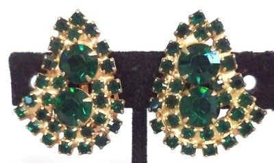 "Vintage Estate High End Green Rhinestone Flower 1 1/8"" Clip Earrings!!! G183U"