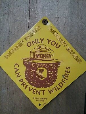 Smokey Bear Prevent Wildfires Forest Hunting Fishing Metal Sign