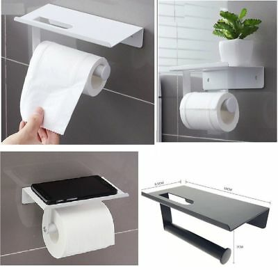 Toilet Roll Holder Wall Mounted With Mobile Phone Storage Shelf Modern Bathroom