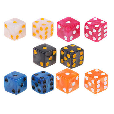 10x 16mm D6 Dice Six Sided Die Black w// White Numbers Square Edged for Game