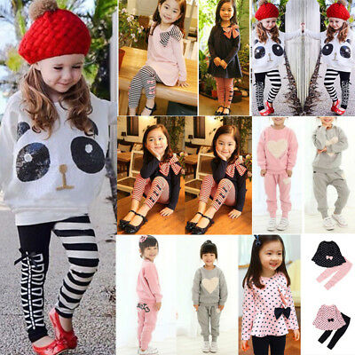 Baby Toddler Kids Girls Panda Sequins Tops T-shirt+Striped Bow Pants Clothes Set