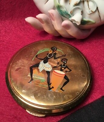 Vintage Collectable 60s Fabulous zulu Dancers drumming Vanity powder Compact