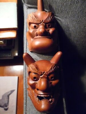 Japanese Miniature Noh Masks (Signed) In Original Box From Ichy's, Toyko
