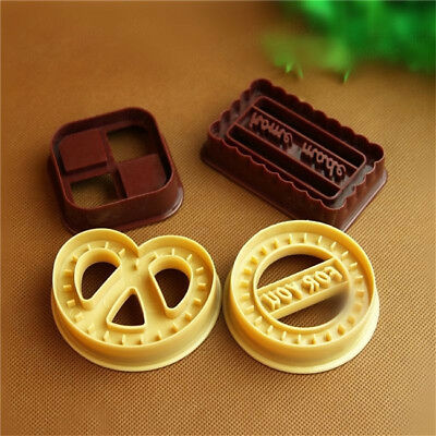 4Pcs Square Round Cookie Biscuit Cutter Fondant Cake Decor Mold Mould 6A