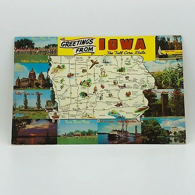Postcard 1977 Greetings from Iowa The Tall Corn State Places Map Sketch B-36n