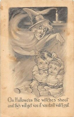 E22/ Halloween Holiday Postcard 1914 Witch Scared Kids G&B Candle Fantasy 39