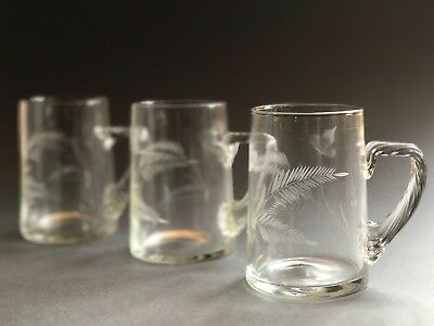 Etched/engraved Victorian Pint Glasses With Twist Handle Set Of 3