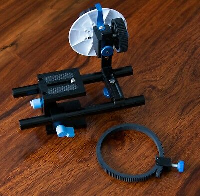 Neewer follow focus setup with belt, 2 x 15mm rails, riser mount