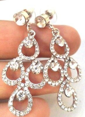 "Stunning Modern Silver Tone Rhinestone Swirl Flower 2 1/2"" Earrings!!! 1536D"