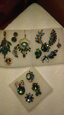 Vintage Single  Earring Lot  Blue Green