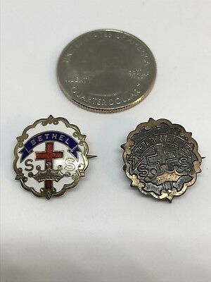 Sunday School Pins Little's System Cross And Crown Lot of Two Vintage