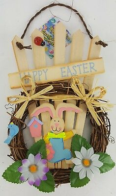 "Easter Bunny Picket Fence In Nest Happy Easter Sign Door Wall Hanger 10"" Tall"