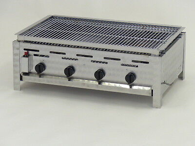 K+F Lavasteingrill mit Erdgas, 4-flammiger Gasgrill - Made in Germany