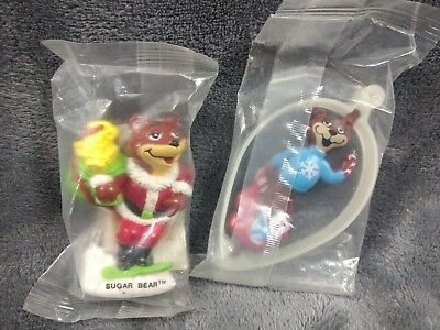 2 Vintage Post Sugar Crisp Cereal Bear Christmas Ornaments Lot New unopened 90s