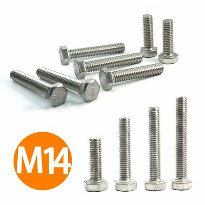25-200mm Metric M14 Hexagon Head Bolts Hex Screw FULLY THREAD A2 STAINLESS STEEL