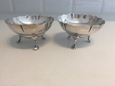 PAIR Mappin & Webb Antique Silver Plate EPNS Footed Sugar Bowls Nibbles Dishes