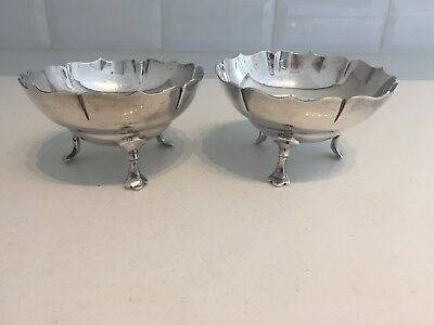 PAIR Mappin & Webb Antique Silver Plated Sugar Nibbles Bowls Footed Xmas (EP20)