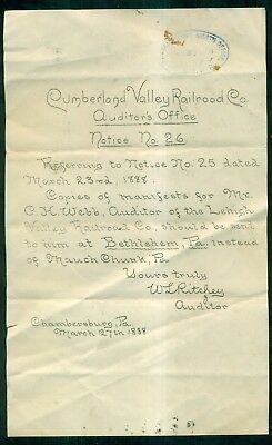 1888 Cumberland Valley Railroad Auditor's Office Notice No.26