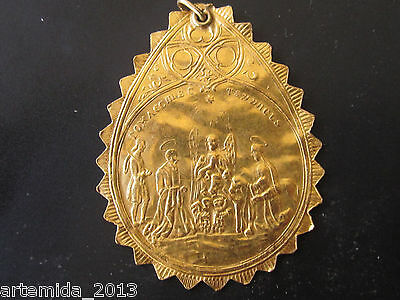 """UNIQUE ANTIQUE VERY RARE RUSSIAN GOLD PENDANT 24K  """"Christening"""" 1850-1900 years"""