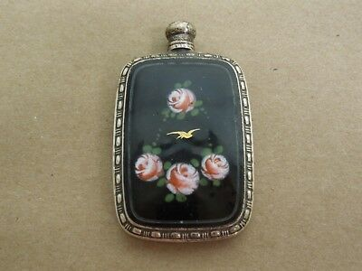 Sterling Silver Guilloche Black Enamel Perfume Bottle By Webster Co. Hallmarked