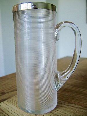 Hm1892 Antique Silver Rimmed Ribbed Glass Mug Taper Holder Rupert Favell No Res