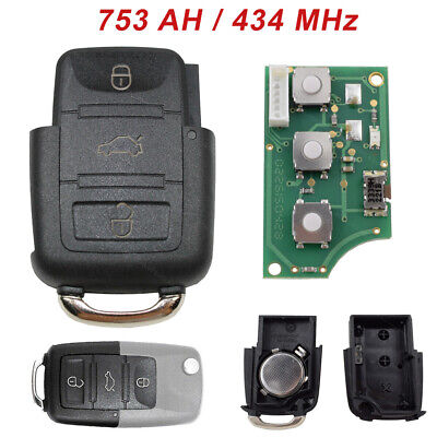 Sender Unit Key Remote Control 1J0959753AH 434 Mhz Suitable for VW Skoda