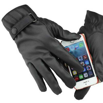Mens Winter Adjustable Leather Line Thermal Touch Screen Touching Driving Gloves
