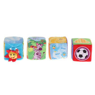 4 in 1 9cm Cloth Building Blocks Soft Rattle Early Learning Plush Cube Toys