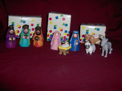 1993 Avon Kids Nativity My First Christmas Story Set Of Nine  / Boxes Rubber