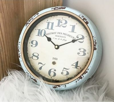Distressed Blue Wall Clock 25cm Retro Vintage Shabby Chic Round Clock Decor New