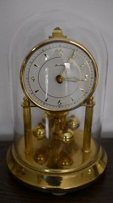 VINTAGE BENTIMA / KERN 400 DAY ANNIVERSARY CLOCK + GLASS DOME - Working Order