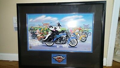 Warner Bros Store Pepe Le Pew The Ride Harley Davidson Cel 94/500 Framed Limited
