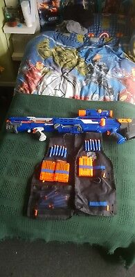 Nerf CS 6 Long Shot Sniper Rifle N Strike Elite Blue Longshot with tactical vest