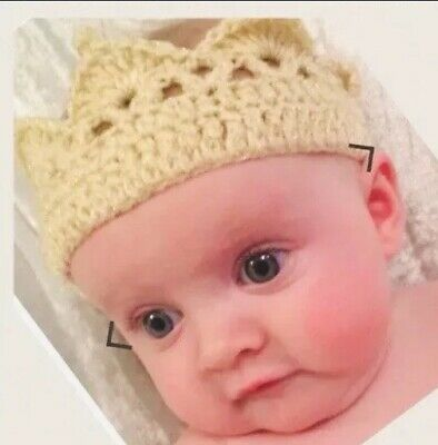 👑luxury Beautiful Crocheted Crown Cream Gold Princess Prince Baby Shower Hat👑